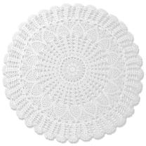 gracebuy 27 inch White Round Cotton Handmade Crochet Lace Tablecloth Doilies