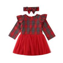 Toddler Infant Baby Girls Dress Long Sleeve Red Plaid Tulle Lace Tutu Princess Dresses Birthday Boutique Clothes