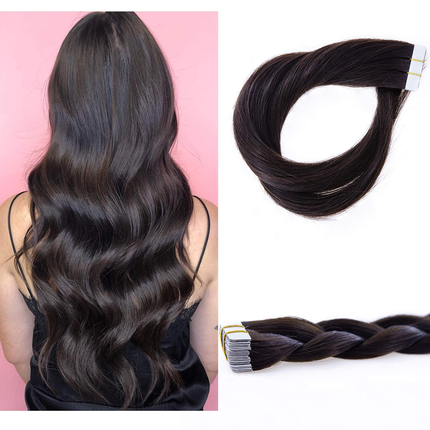 Lacerhair 16 inch Seamless Remy Tape in Human Hair Extensions Balayage Natural PU Skin Weft 100% Real Virgin Human Hair Color #Darkest Brown Double Side 50g 20pcs/set