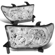 DNA Motoring HL-OH-TT07-CH-CL1 Chrome Housing Clear Corner Headlights Replacement For 07-13 Tundra Sequoia