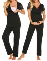 MAXMODA Pj Set for Women Lace Sleeve Tops & Long Pants Pajamas Maternity Clothes