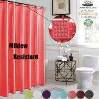 ROYACOR Fabric Shower Curtain with 12 Polyresin Hooks, Water-Repellent Rustproof Bath Curtain, 72x72 Non Toxic 100% Durable Polyester Shower Curtain Liner, Machine Washable,Easy to Install-Red