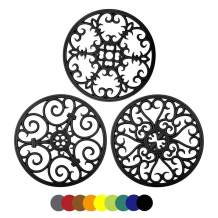 Silicone Trivet Mat - Hot Pot Holder Kitchen Heat Resistant Pad for Pots Pans Dishes Trivets for Counter Table Round Non-Slip Silicone Mat Countertop Protector Set of 3 (Black)