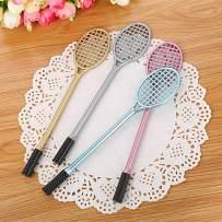 WIN-MARKET Badminton Racket Gel Ink Pen Cute Kawaii Black Writing Pens Ballpoint Black Ink Gel Pen Party Gift Gel Ink Pens Funny School Stationery Office Supplies(8PCS)