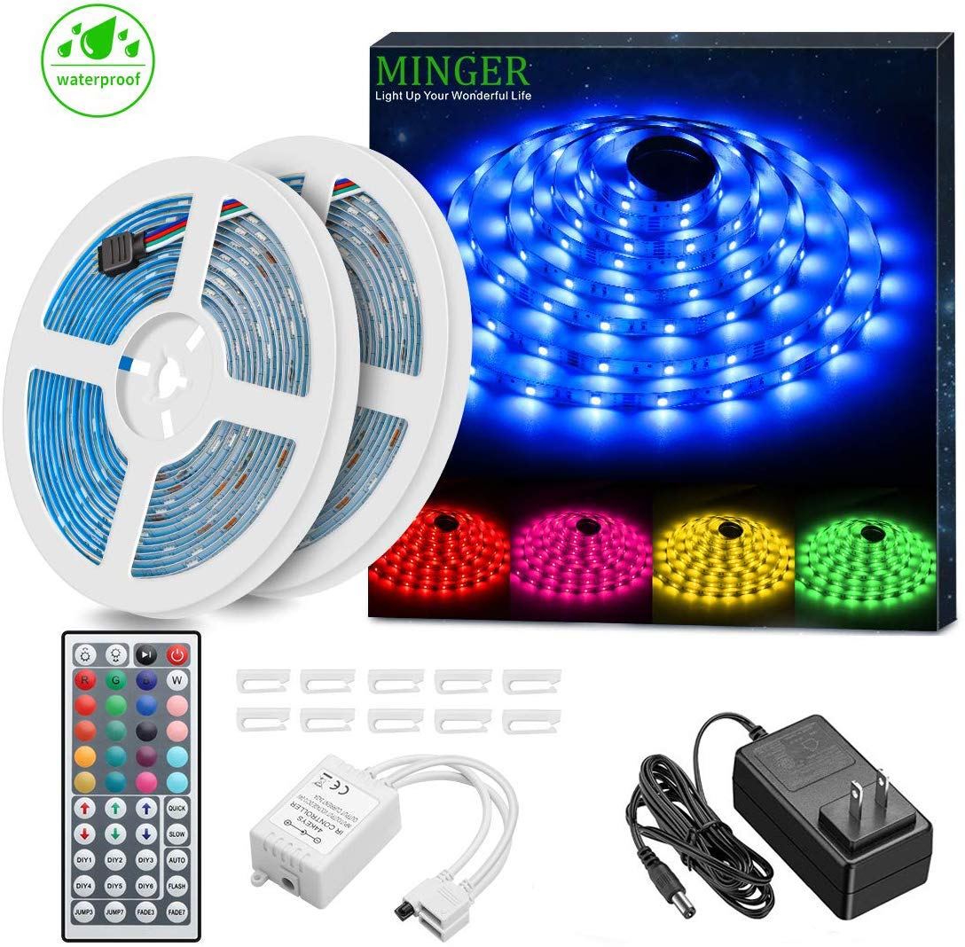 MINGER LED Strip Lights Kit, Waterproof 32.8ft 5050 RGB 300led Strips Lighting Flexible Color Changing Rope Lights with 44 Key IR Remote Ideal for Room, Home, Kitchen, Party, DC 12V/3A UL Listed