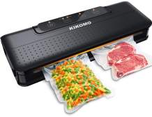 Vacuum Sealer Machine, KIKOMO Automatic Food Saver with Upgrade Dual Pumps Air Sealing System, One-Touch Operation, Led Indicator Lights, Dry Moist Food Modes, Starter Kit, 15 Vacuum Bags