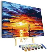 Papivore Paint by Numbers, Framed/semi-Framed, 19.7 x 15.8 inches Canvas, Ocean Sunset, Acrylic Wall Decor