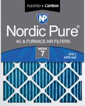Nordic Pure 18x24x1 MERV 7 Pleated Plus Carbon AC Furnace Air Filters 6 Pack