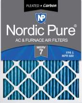 Nordic Pure 20x25x1 MERV 7 Pleated Plus Carbon AC Furnace Air Filters 6 Pack