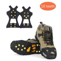 Sfee Ice Snow Grips Crampons Traction Cleats Spikes 19 Spikes for Women Men,Anti Slip Stainless Steel Chain Flexible Footwear for Walking Climbing Hiking Fishing Outdoor