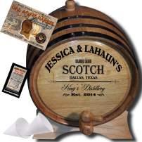 Personalized American Oak Scotch Aging Barrel (061) - Custom Engraved Barrel From Skeeter's Reserve Outlaw Gear - MADE BY American Oak Barrel - (Natural Oak, Black Hoops, 2 Liter)