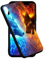 iPhone Xs MAX Case 6.5 inch Pricetail 3 in 1 Layer Anti-Drop TPU Bumper Hard PC Scratch-Proof Tempered Glass Protector Cover Fit XS MAX iPhone Case for Girls Boys Ice Wolf VS Fire Wolf