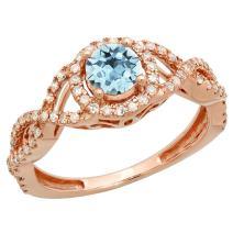 Dazzlingrock Collection 10K 5 MM Round Gemstone & Diamond Ladies Swirl Split Shank Bridal Halo Engagement Ring, Rose Gold