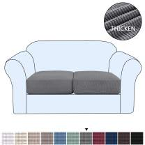 H.VERSAILTEX High Stretch Individual Seat Cushion Covers Sofa Slipcovers Couch Cushion Covers Sofa Covers Featuring Jacquard Textured Twill Fabric (2 Pack for 2 Cushion Loveseat, Gray)