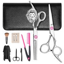 Professional Hair Cutting Set 9 Pcs Hairdressing Scissors Kit, PLYRFOCE Hair Cutting Kit for Women, Hair Cutting Scissors, Thinning Shears, Hair Razor Comb, Clips, Cape,