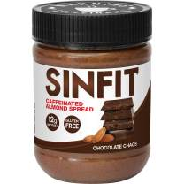 SinFit (Sinister Labs) Caffeinated High Protein Almond Spread, Chocolate Chaos, Non-GMO, Gluten Free, Low Sodium (packaging may vary)