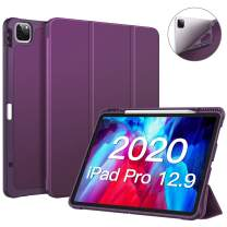 """CaseBot SlimShell Case for iPad Pro 12.9"""" 4th & 3rd Generation 2020/2018 with Pencil Holder - Smart Stand Soft TPU Back Cover, Support Pencil 2nd Gen Charging & Auto Wake/Sleep (Purple)"""