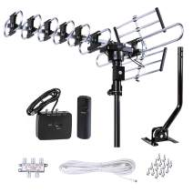 FiveStar Outdoor HD TV Antenna Strongest Up to 200 Miles Long Range with Motorized 360 Degree Rotation, UHF/VHF/FM Radio Infrared Remote Control with Installation Kit and Jpole