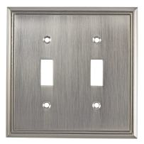 """Richelieu Hardware Contemporary Style 2 Toggle Entries Switch Plate, 4.84"""", Brushed Nickel"""