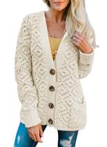 LOSRLY Womens Open Front Button Down Hooded Knit Cardigans Sweater Coat Outwear(S-XL)