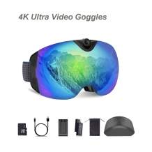 OhO sunshine Ski Goggles, S6 Model, 4K 24MP Adjusted Action Camera, Anti-Fog Snowboard Goggles with UV400 Protection Dual Ski Lens, Low Temperature Working Battery