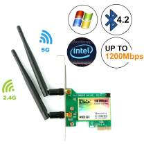 Ubit Gigabit AC 1200Mbps Bluetooth4.2 Wireless Network Card, 802.11 AC Dual-Band 1167Mbps WiFi Card with Bluetooth 4.2, Dual-Band 5Ghz-867Mbps/2.4Ghz-300Mbps Network Card for PC(WIE8260)