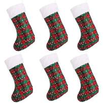 SANNO 16 inch Christmas Stockings, Plaid Bulk Hanging Stocking Craft Socks Trendy Red and Green Tartan Christmas Stocking with Snowflake DecorationsHoliday Decorations Gifts Party Accessory,6 pcs