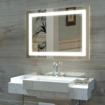 HAUSCHEN 36 x 28 inch LED Lighted Bathroom Wall Mounted Mirror with 5500K High Lumen + CRI 95 Cold White Lights and Anti Fog and Dimmable Memory Touch Button + IP44 Waterproof + Vertical & Horizontal