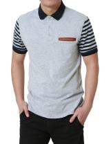 uxcell Men Collared Regular Fit Striped Sleeves Pocket Short Sleeves Button Golf Polo Shirts