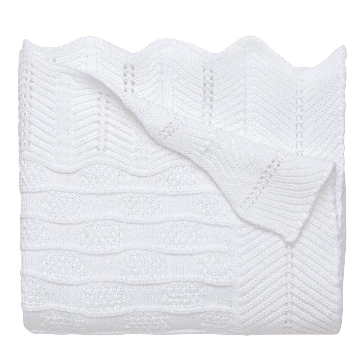 "Elegant Baby Premium 100% Cotton Knit Blanket, White Texture Knit, 30"" x 40"""