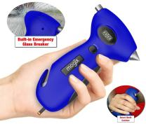 Mogix Digital Tire Pressure Gauge Safety 5in1 Survival Tool - Auto Rescue Window Breaker, Seat Belt Cutter, Flashlight and Tire Tread Meter (Blue)