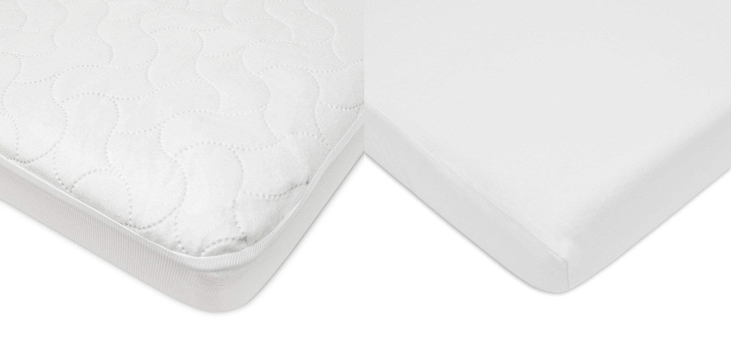 American Baby Company Crib Size Waterproof Mattress Pad Protector and Cotton Jersey Sheet Combo, White