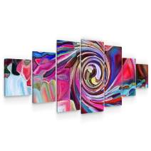 STARTONIGHT Large Canvas Wall Art Abstract - Hypnotizing Colors - Huge Framed Modern Set of 7 Panels 40 x 95 Inches