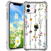 """HBorna iPhone 11 Case, Beautiful Floral Case for 6.1"""" iPhone 11 2019, Clear Silicon Back Cover for iPhone 11"""