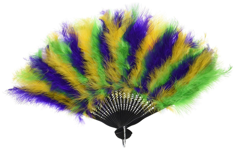 Beistle Mardi Gras Feather Fan, 12-Inch by 20-Inch (2-Pack)