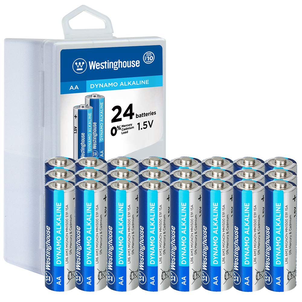 Westinghouse Alkaline AA Batteries (Bulk Pack 24 Count), Leak-Proof & Long-Lasting Technology Double A Primary Batteries with Lasting Power for High Drain Devices (Non-Rechargeable)