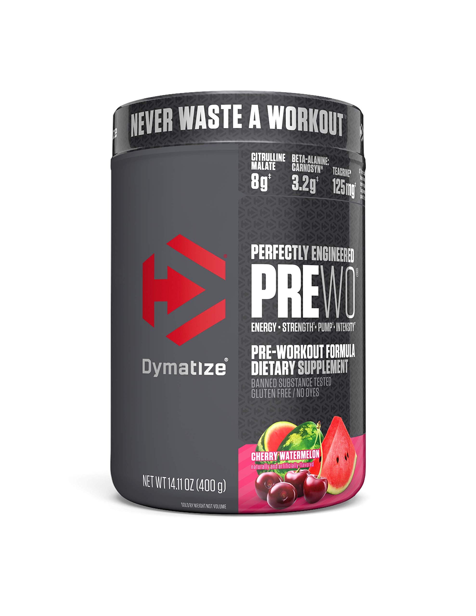 Dymatize PreW.O., Pre Workout Powder with Caffeine, Maximize Energy, Strength & Endurance, Amplify Intensity of Workouts, Cherry Watermelon, 400g