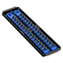 Ernst Manufacturing Socket Boss 2-Rail 1/4-Inch-Drive Socket Organizer, 13-Inch, Blue