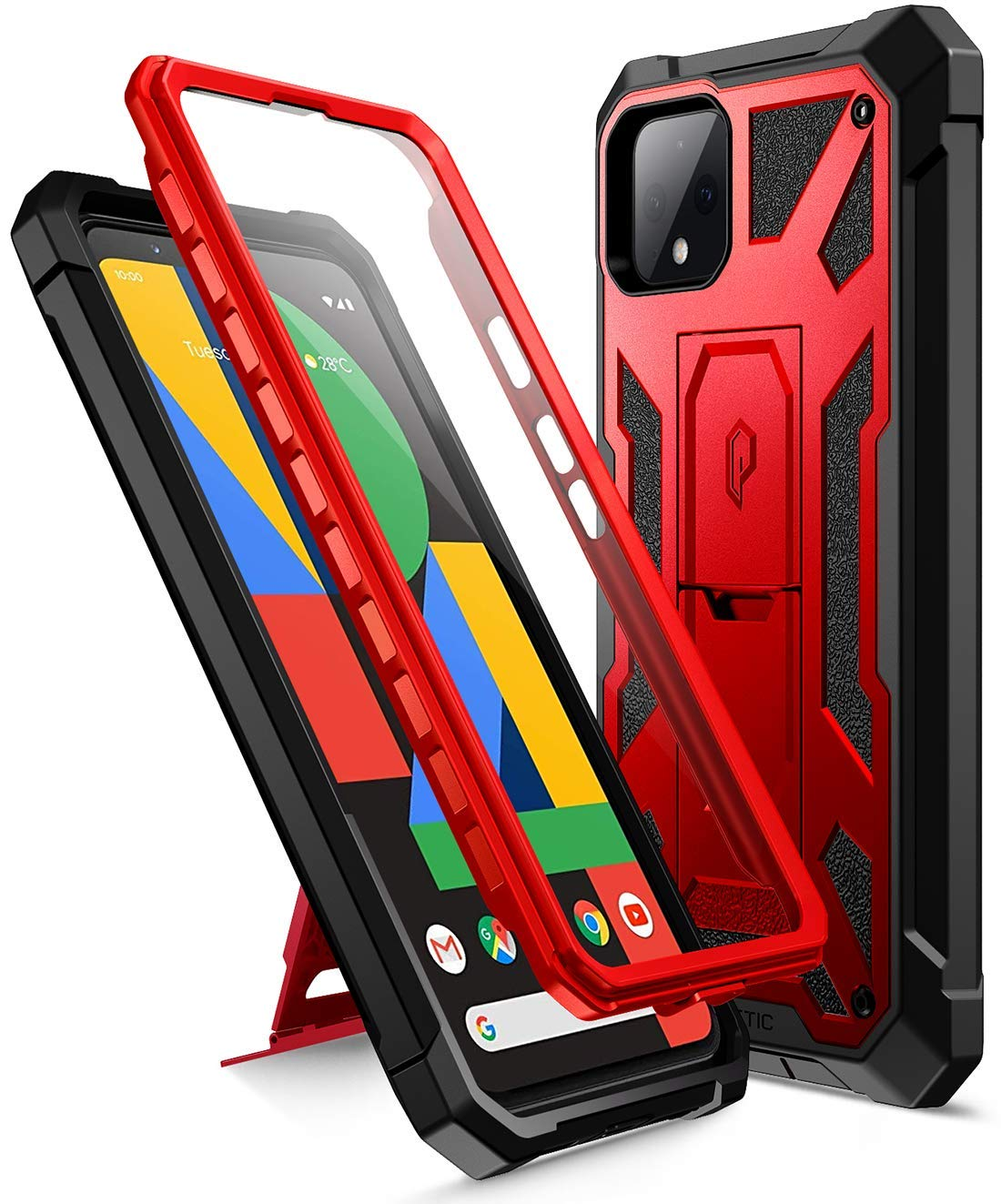 Poetic Spartan Series Designed for Google Pixel 4 5.7 inch Case, Full-Body Rugged Dual-Layer Metallic Color with Premium Leather Texture Shockproof Protective Cover with Kickstand, Metallic Red