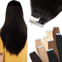 S-noilite 22 inch 50g 20pcs Rooted Tape in Extensions Real Hair Double Sided Invisible Seamless Skin Weft Remy Hair Extensions Tape in Highlighted Ombre For Beauty #1B Natural Black