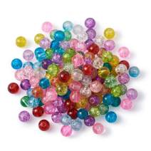 Craftdady 500Pcs 4mm Transparent Crackle Glass Round Beads Tiny Handcrafted Loose Pony Ball Beads Random Mixed Colors for Jewelry Making Hole: 1mm