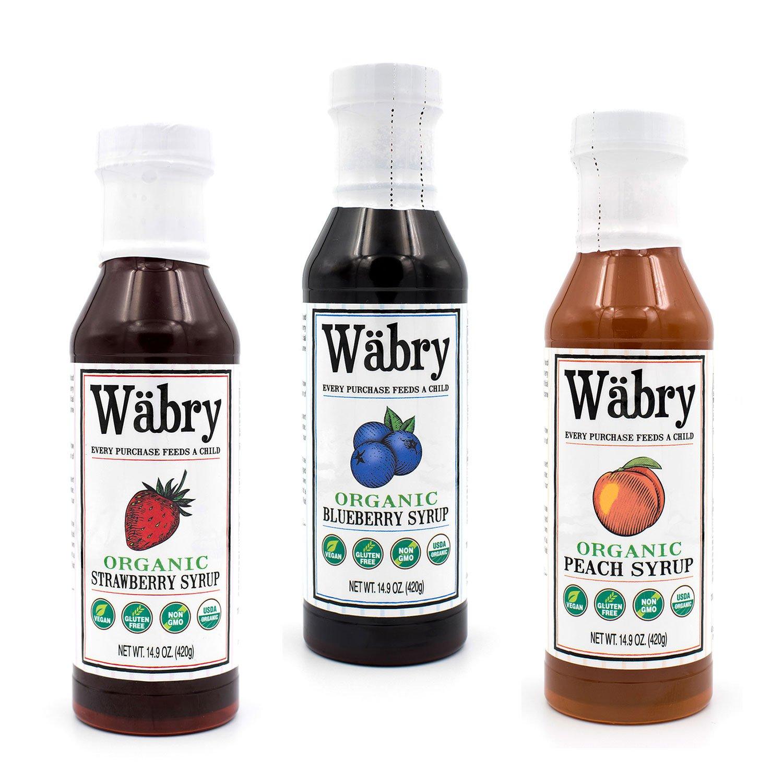 Wäbry Organic Syrup 14.9 oz Strawberry, Blueberry, Peach (Fruit Variety 3 Pack) BPA-Free Plastic