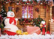 LYWYGG 7x5FT Cute Snowman Photography Backdrop Christmas Backdrop Holiday Home Christmas Tree Gifts Background for Christmas Party Decoration CP-98