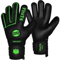 FitsT4 Goalie Goalkeeper Gloves with Fingersaves & Super Grip Palms Soccer Goalkeeper Gloves for Youth, Adult