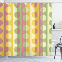 """Ambesonne Abstract Shower Curtain, Retro Textured Circle Geometric Shapes Over Striped Grid Background Soft Design, Cloth Fabric Bathroom Decor Set with Hooks, 84"""" Long Extra, Pastel Colors"""