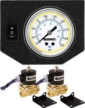 """Vixen Air 3/8"""" NPT Electric Air Valve (Solenoid) 210PSI 12V (2-Pack) with 1 Single Needle Gauge/1 Switch Dash Panel Kit White VXF0G2038W"""