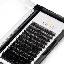 Eyelash Extensions 0.10mm D Curl 13mm 3D Faux Mink Lashes Individual Black Lash Extension Eyelashes Single Length Supplies Perfect Salon Use by EYEMEI (0.10-D-13mm)