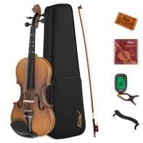 Eastar Full Size 4/4 Violin Set EVA-3 Matte Fiddle for Kids Beginners Students Adults with Hard Case, Rosin, Shoulder Rest, Bow, and Extra Strings (Imprinted Finger Guide on Fingerboard)