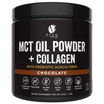 MCT Oil Powder + Collagen + Prebiotic Acacia Fiber - 100% Pure MCT's - Perfect for Keto - Energy Boost - Nutrient Absorption - Appetite Control - Healthy Gut Support - Chocolate