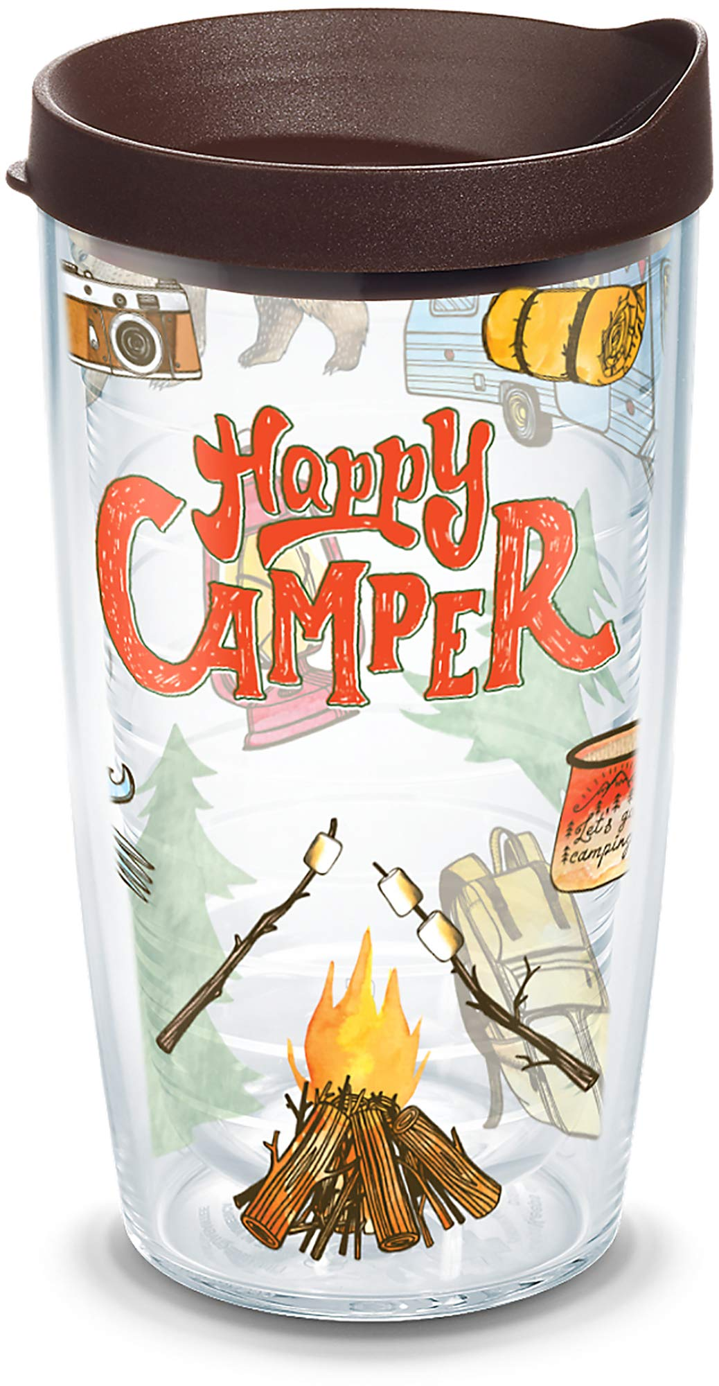 Tervis 1218220 Happy Camper Tumbler with Wrap and Brown Lid 16oz, Clear